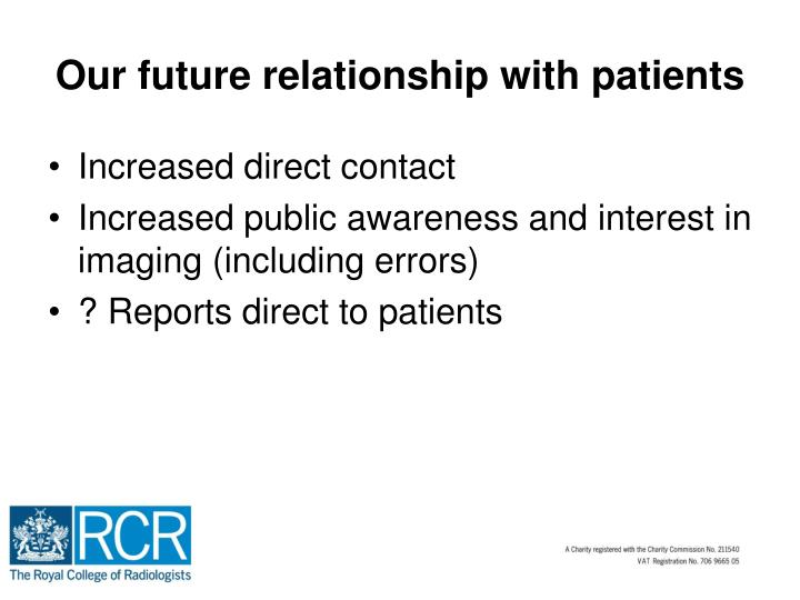 Our future relationship with patients