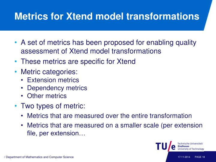 Metrics for Xtend model transformations