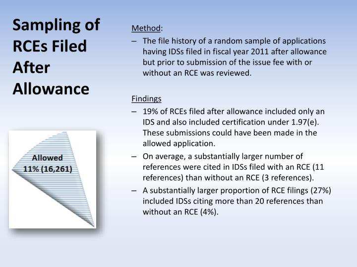 Sampling of RCEs Filed After Allowance