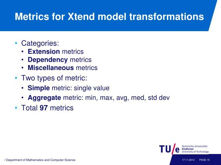 Metrics for Xtend model transformations