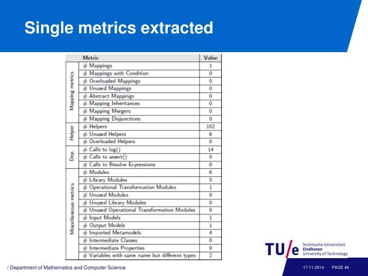 Single metrics extracted