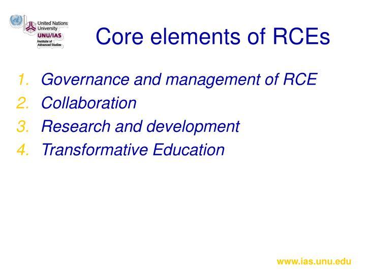 Core elements of RCEs