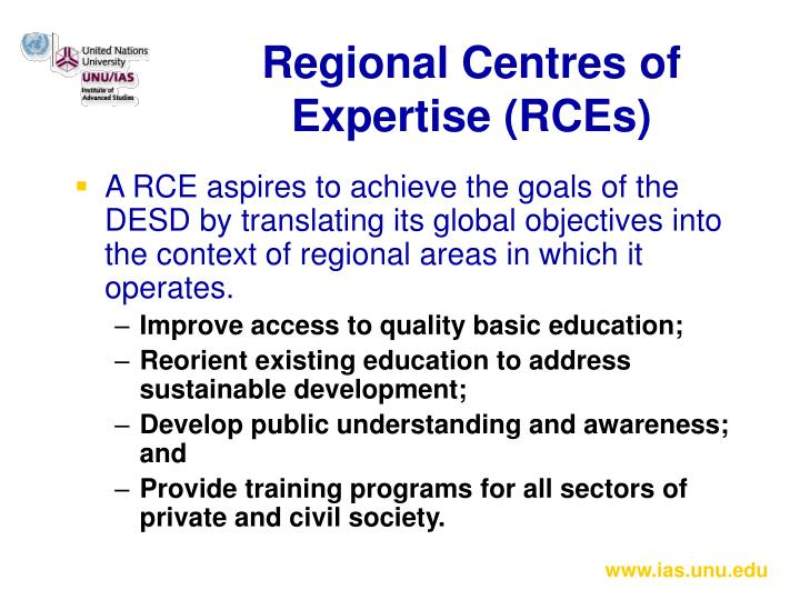 Regional Centres of Expertise (RCEs)