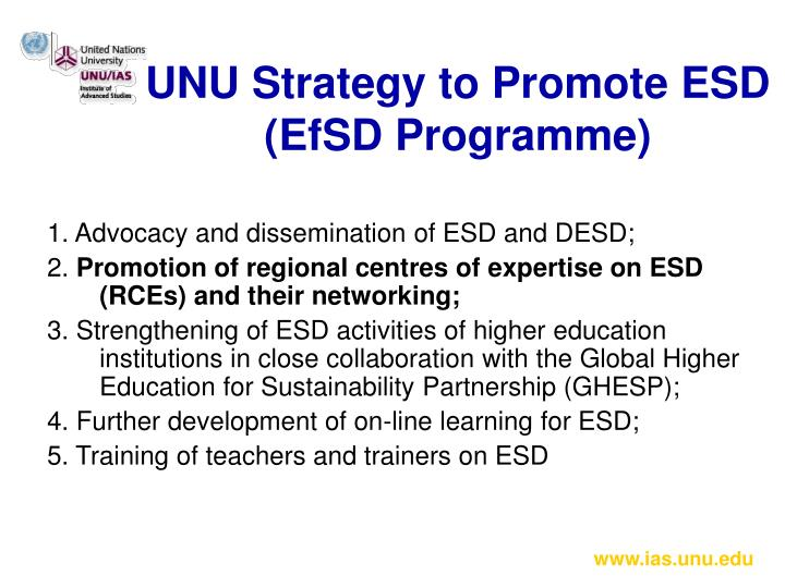 UNU Strategy to Promote ESD