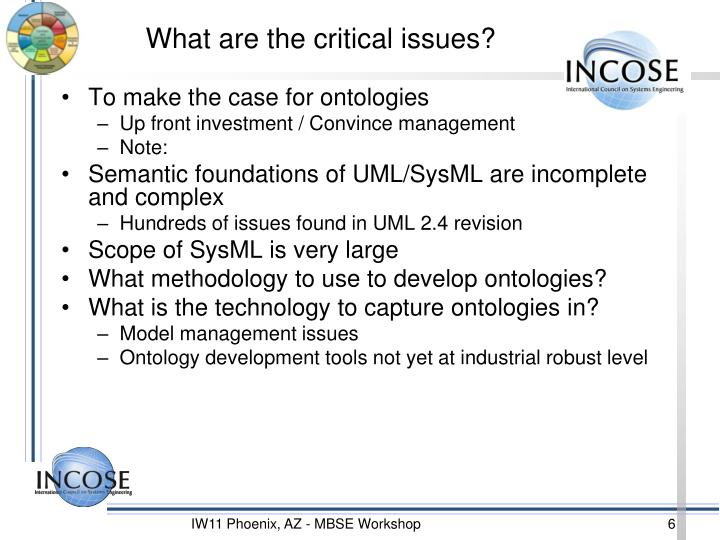 What are the critical issues?