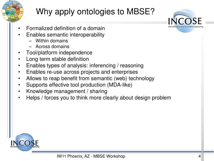 Why apply ontologies to MBSE?