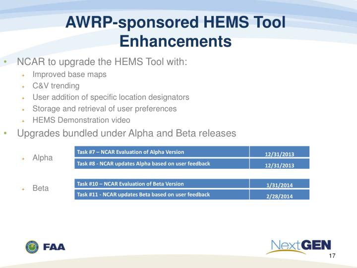 AWRP-sponsored HEMS Tool Enhancements