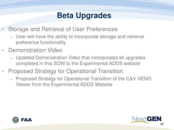 Beta Upgrades