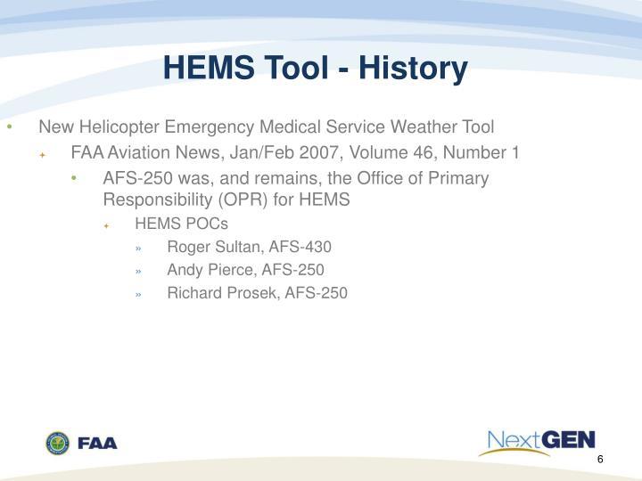 HEMS Tool - History