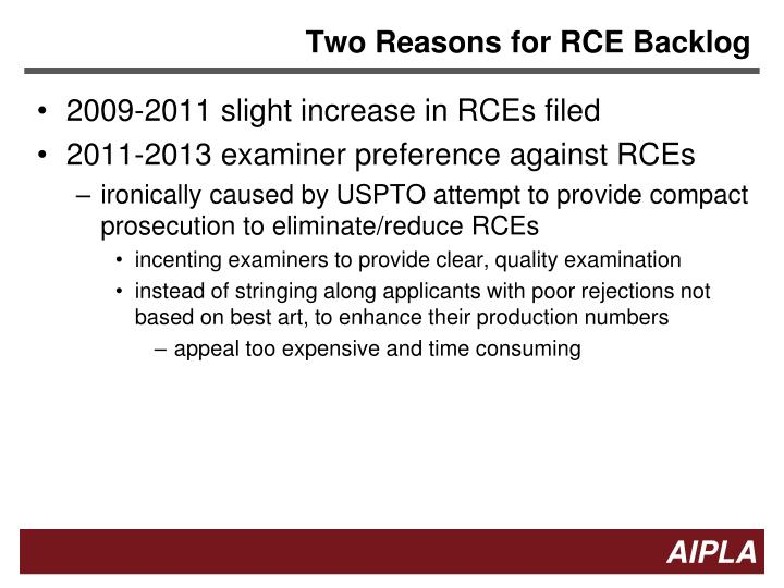 Two Reasons for RCE Backlog