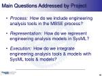 main questions addressed by project