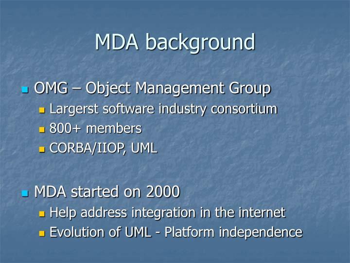 MDA background