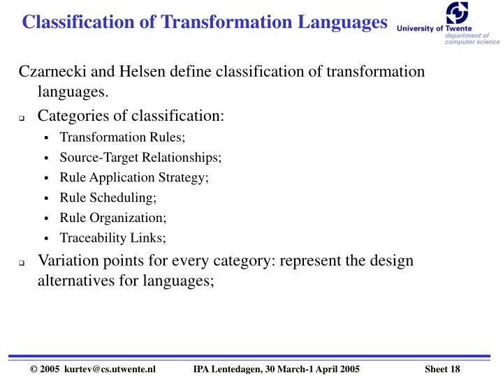 Classification of Transformation Languages