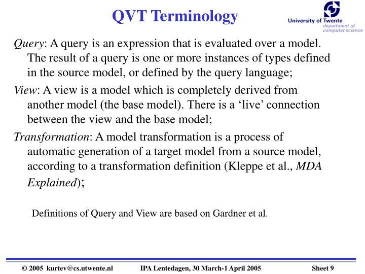 QVT Terminology