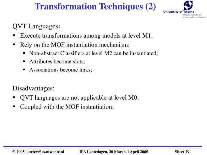 Transformation Techniques (2)