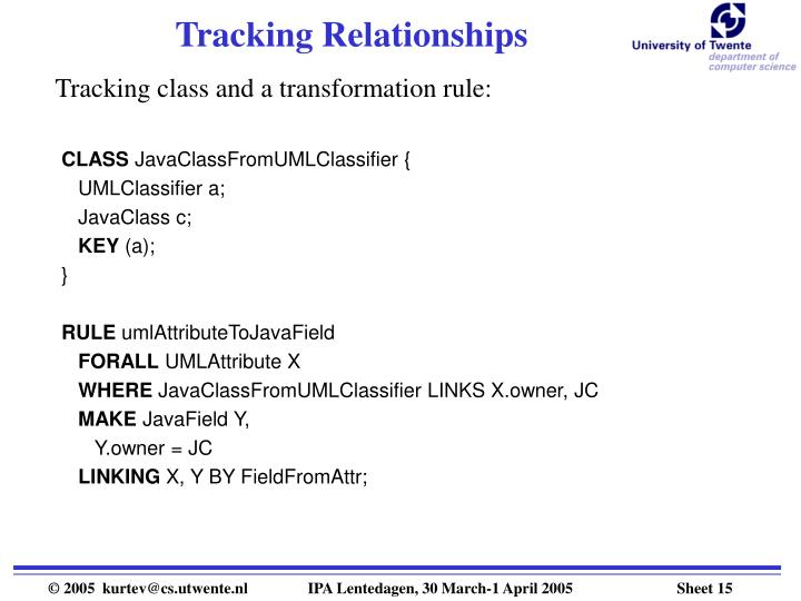 Tracking Relationships