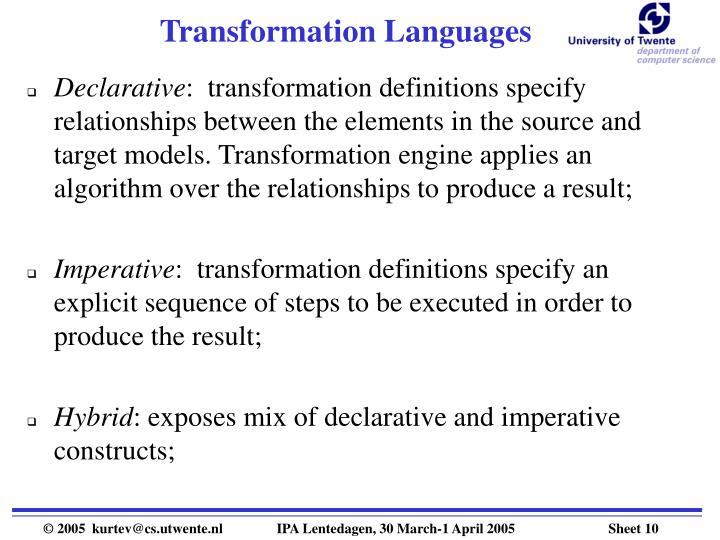 Transformation Languages