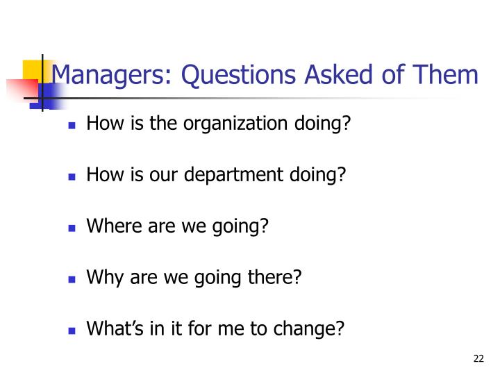 Managers: Questions Asked of Them
