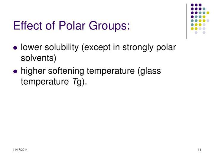 Effect of Polar Groups: