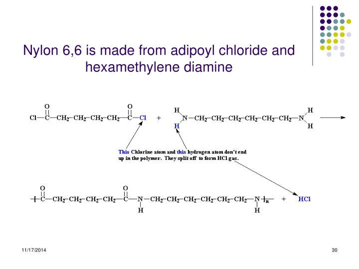Nylon 6,6 is made from adipoyl chloride and hexamethylene diamine