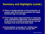 summary and highlights contd