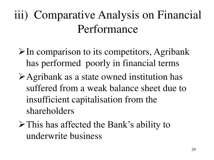 iii)  Comparative Analysis on Financial Performance