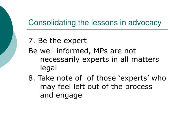 Consolidating the lessons in advocacy
