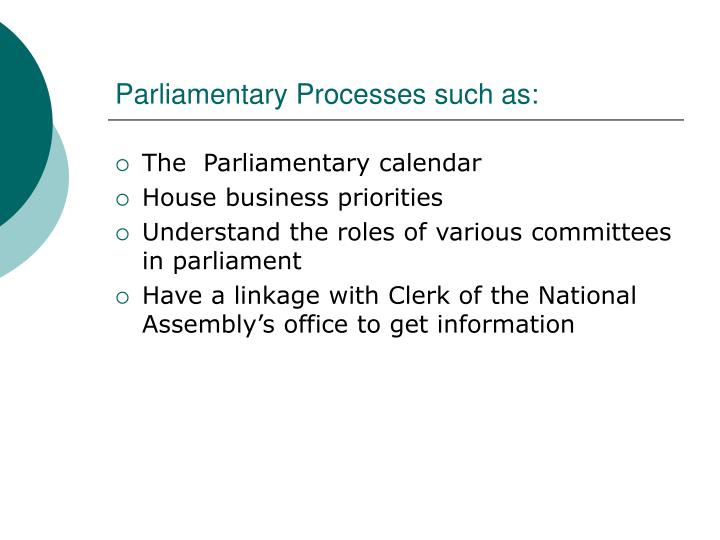 Parliamentary Processes such as: