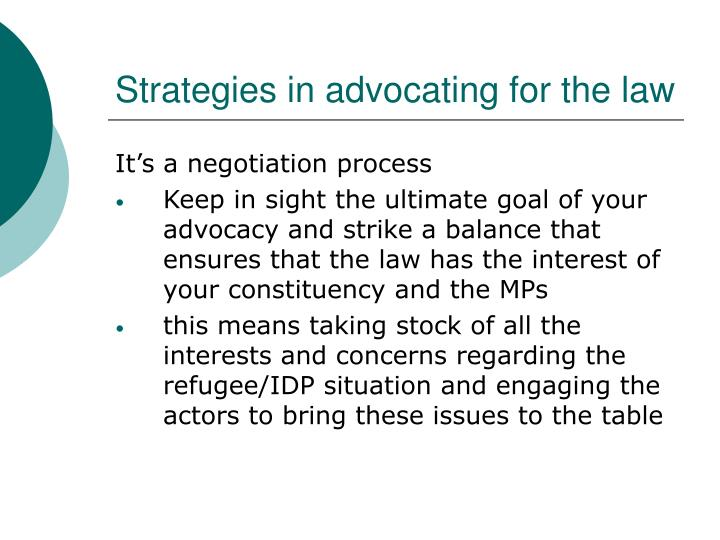 Strategies in advocating for the law
