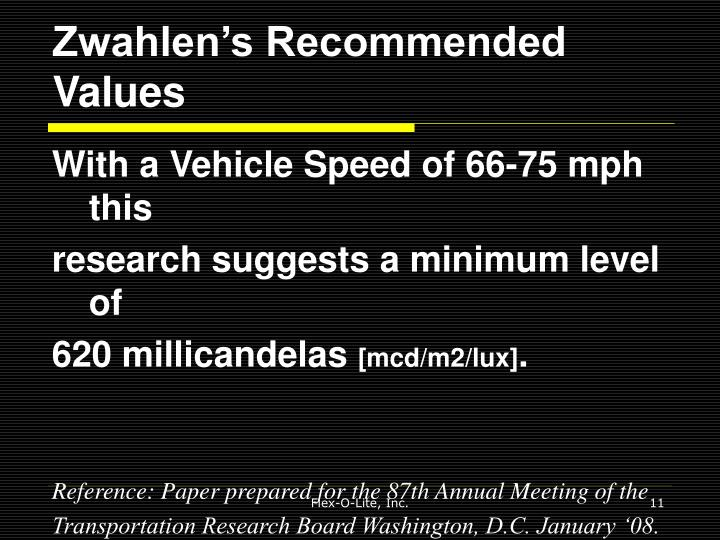 Zwahlen's Recommended Values