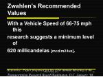 zwahlen s recommended values
