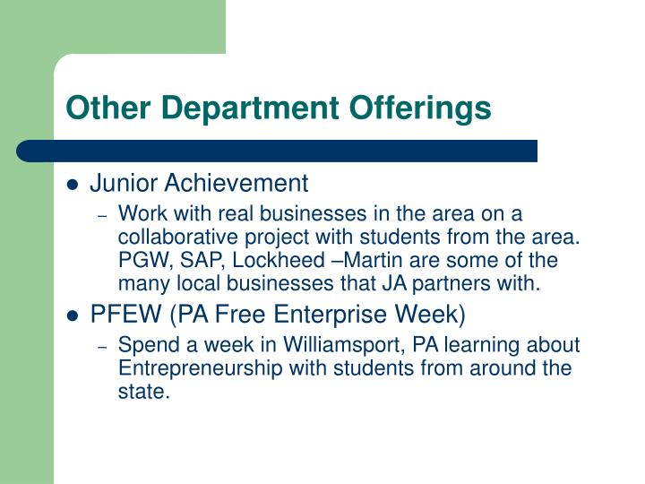 Other Department Offerings