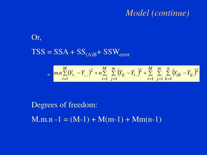 Model (continue)