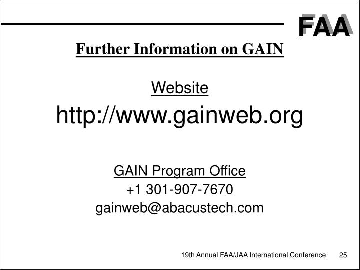 Further Information on GAIN