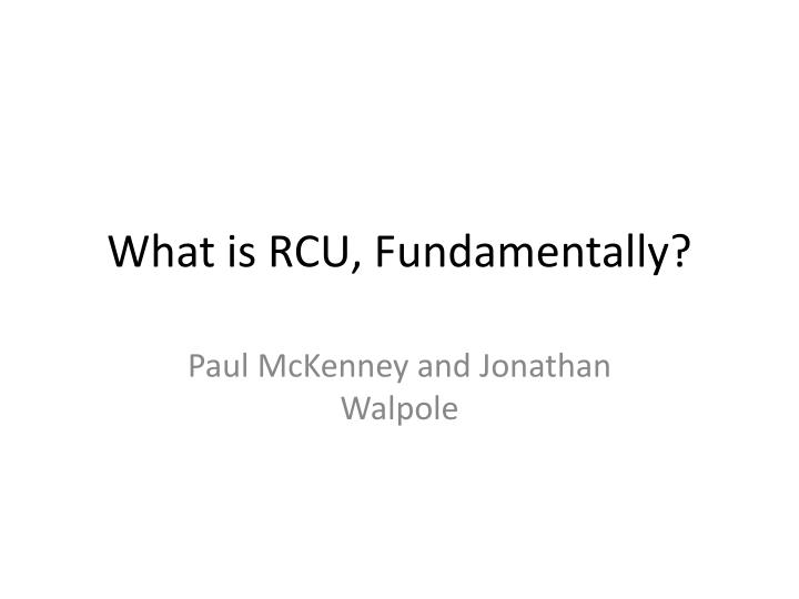 what is rcu fundamentally