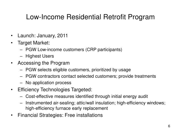 Low-Income Residential Retrofit Program