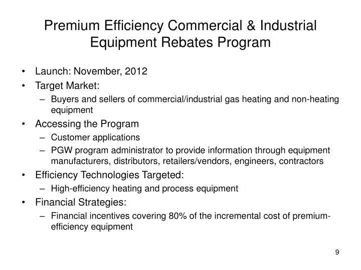 Premium Efficiency Commercial & Industrial Equipment Rebates Program