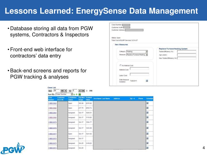 Lessons Learned: EnergySense Data Management