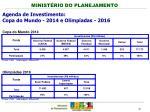 agenda de investimento copa do mundo 2014 e olimp adas 20161