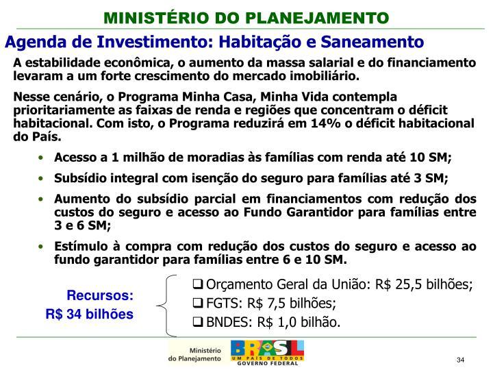 Orçamento Geral da União: R$ 25,5 bilhões;