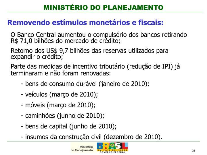 Removendo estímulos monetários e fiscais: