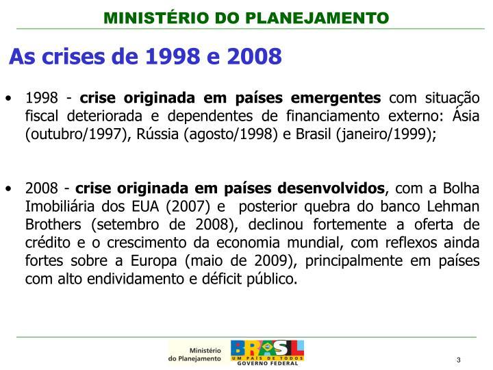 As crises de 1998 e 2008