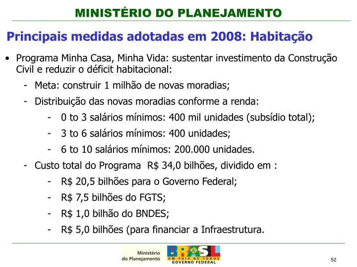 Principais medidas adotadas em 2008: Habitação