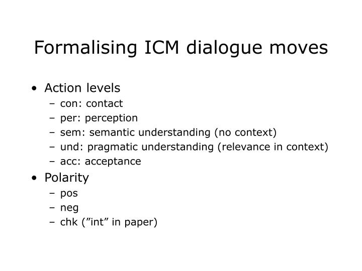 Formalising ICM dialogue moves