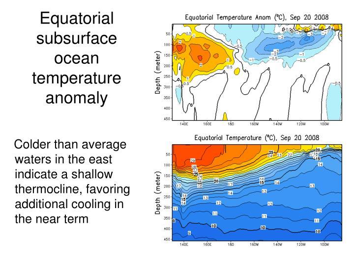 Equatorial subsurface ocean temperature anomaly