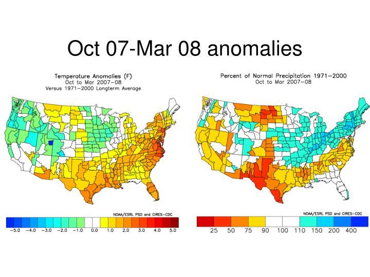Oct 07-Mar 08 anomalies