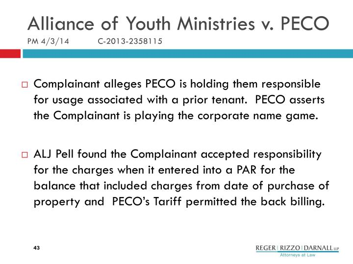 Alliance of Youth Ministries v. PECO