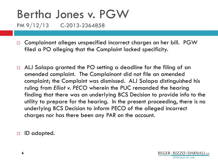 Bertha Jones v. PGW