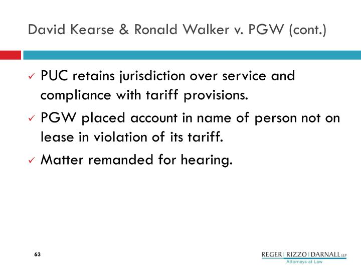 David Kearse & Ronald Walker v.