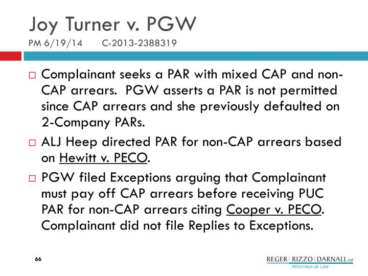 Joy Turner v. PGW